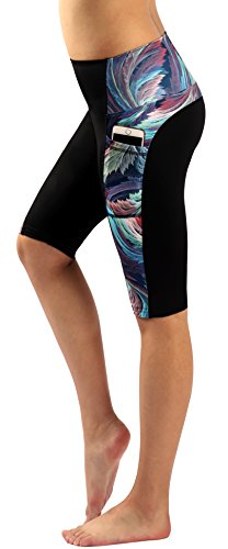 Zinmore Women's Knee Length Tights Yoga Shorts Workout Pants Running Leggings with Pockets (Large (10