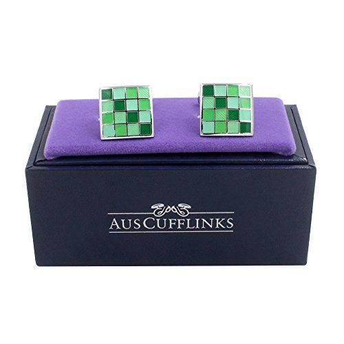 Jade Coral Green Cufflinks | 5 Yr Warranty | Gift Box Inc | 35th Anniversary Gift by AUSCUFFLINKS (Image #1)