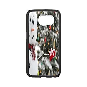 DIY Winter Greetings Happy Snowman And Snowflake S6 Case, Winter Greetings Happy Snowman And Snowflake Custom Case for Samsung Galaxy S6 at Lzzcase