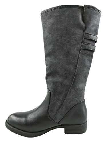 LADIES PULL ON MID CALF FLAT HEEL SUEDE WARM LINED WINTER BOOTS GREY SIZE UK 3-9 soVCsjo