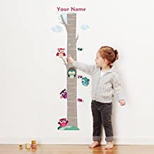 Personalized Owls on Tree Growth Chart Wall Decal for Nursery, Kids Room