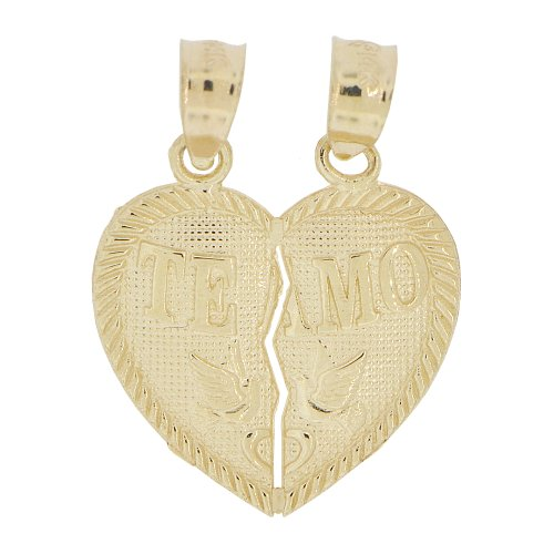 14k Yellow Gold, Small Size Couple Sharing Split Heart Pendant Love Charm Te Amo 16mm by GiveMeGold