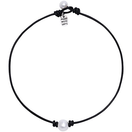 Freshwater Single Pearl Necklace Choker on Genuine Leather Cord Jewelry for Women 15'' - Freshwater Pearl Pearls Jewelry