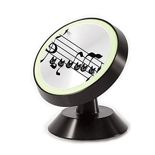 Magnetic Dashboard Cell Phone Car Mount Holder,Cat Artwork Notation Tune Children Halloween,can be Adjusted 360 Degrees to Rotate,Phone Holder Compatible All Smartphones -