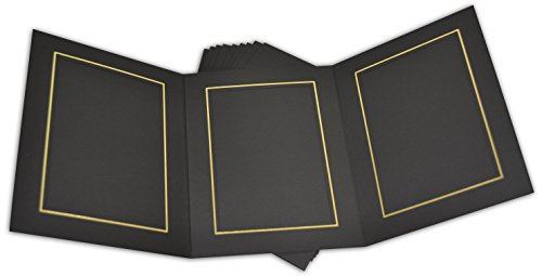 Golden State Art, Cardboard Photo Folder for 3 5x7 Photo (Pack of 50) GS005 Black Color by Golden State Art (Image #3)