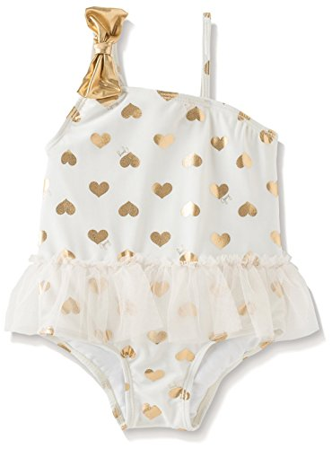 Juicy Couture Kid's One Shoulder Bow Swimsuit, White, 6