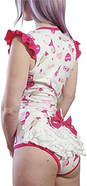 LittleForBig Body b/éb/é pour Les Adultes Amoureux des Couches Barboteuse avec Une Ouverture /à l/'Entrejambe comme Pyjama-Bonjour Miauler-Miauler Body ABDL