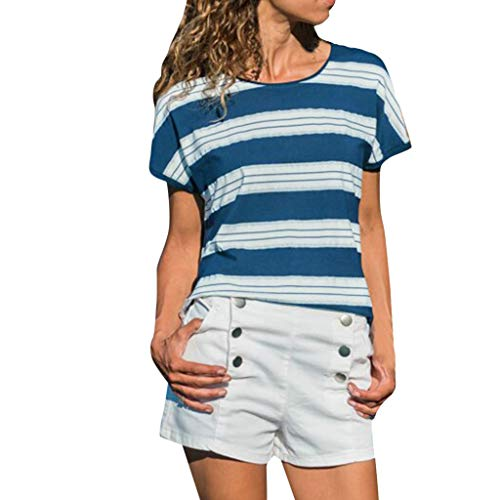 GDJGTA Tops for Womens Summer Classic Striped Printing Slim fit Sleeve Sleeve Tops Shirts Blouse Blue