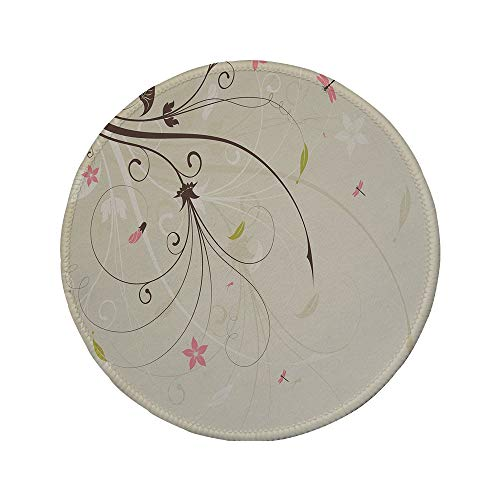 Non-Slip Rubber Round Mouse Pad,Dragonfly,Spring Field Bouquet Shabby Chic Abstract Blossom Greenland Graphic Art Decorative,Tan Brown Light Pink,7.87