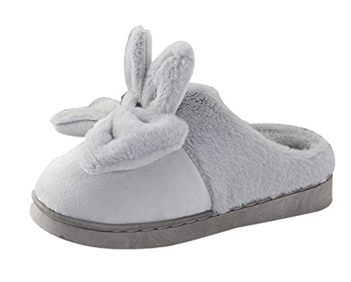 Shoes Womens Slippers Bow Fluffy Gray House Cute Cattior IBCRRq