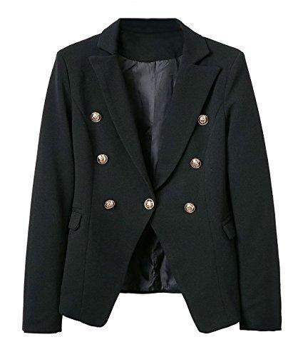 pqdaysun Women Casual Double Lapel Shoulder Pad Office Blazer Slim Suit Jacket Black 1 US 4