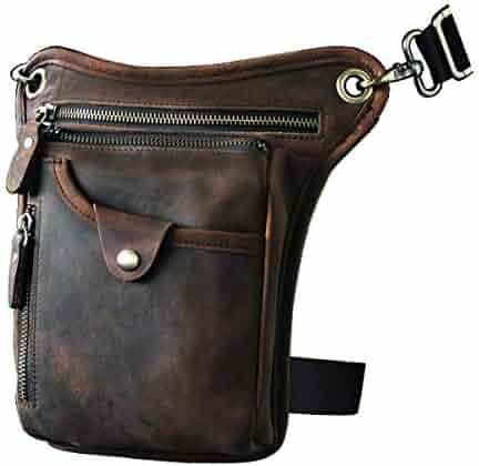 Le'aokuu Mens Genuine Leather Motorcycle Waist Pack Messenger Shoulder Drop Leg Bag