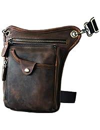 Mens Genuine Leather Motorcycle Waist Pack Messenger Shoulder Drop Leg Bag