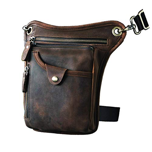 Le'aokuu Mens Genuine Leather Motorcycle Horse Riding Waist Pack Drop Leg Cross Over Bag (211-5 Dark Brown) ()