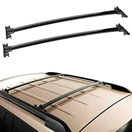 Cross Bars Compatible With 2008-2013 TOYOTA HIGHLANDER Factory Style Aluminum Black Roof Top Bar Luggage Carrier by IKON MOTORSPORTS 2009 2010 2011 2012