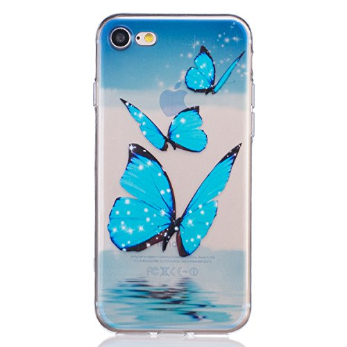 iPhone 7 Case,Newstore Butterfly Flower Printed TPU Skin Case Cover Protective For Apple iPhone 7 4.7 inch With A Free Packing With Newstore Trademark gifts -