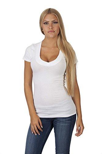 - Hollywood Star Fashion Women's Deep V-Neck Short-Sleeve Shirt Plus Size (1XL, White)