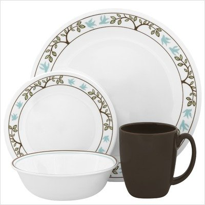 Corelle Livingware 16-Piece Dinnerware Set, Tree Bird, Service for (Bird Round Dish)