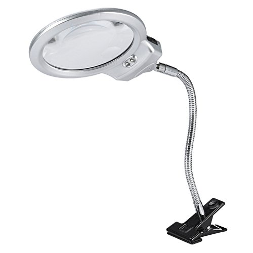 (LED Lighted Magnifier Desk Lamp, 2.25X 5X Lighted Metal Hose Clamp Swing Arm Table Desk Magnifying Glass)