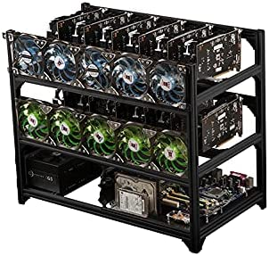 18 GPU All Aluminum Stackable Open Air Mining Multi Graphics Card Computer Full Tower Frame Stackable Rig Insulation Multi-Function Case Ethereum LTC ZEC Bitcoin (Black)