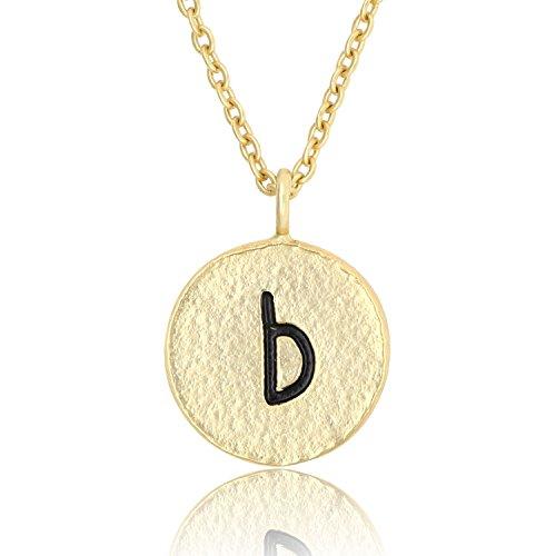 Pendant Alphabet Necklace Letter (KISSPAT 14K Gold Tone Handmade Initial Necklace Hammered Tiny Alphabet Pendant Letter Jewelry for Women)