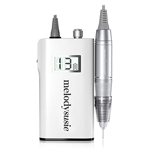 (MelodySusie Professional Rechargeable 30000 rpm Nail Drill, Portable Electric E File Scamander, Acrylic Gel Grinder Tools with 6 Bits and Sanding Bands for Manicure Pedicure Shape Carve Polish, White)