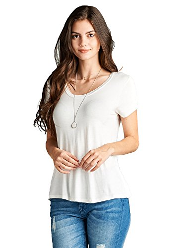 Scoop Neck White Tee (Emmalise Women's Comfy Soft Flowy Tee Shirt Short Sleeves Scoop Neck Tee Top - Off White, L)