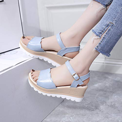 Summer Womens Casual Mid Heel Sandals Wedge Ankle Strap Shoes Buckle Strap Student Beach Shoes (Blue, Size:40=US:7.5) by Tanlo (Image #4)