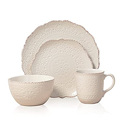 Pfaltzgraff 5143149 Chateau Cream 16-Piece Stoneware Dinnerware Set, Service for 4, Off White - DINNERWARE SET FOR 4: This 16-piece dinnerware set, service for four, includes 4 each of: 11-inch dinner plate, 8-inch salad plate, 6-inch soup cereal bowl, and 12-ounce mug BEAUTIFUL DETAILS AND DESIGN: Simple, versatile cream serves as the backdrop for intricate dimpled patterns that circle each piece. The elegant look is enhanced with a hint of red along the scalloped edges. DURABLE AND HIGH QUALITY: Made from high quality stoneware for long lasting beauty and durability - kitchen-tabletop, kitchen-dining-room, dinnerware-sets - 41XycZ8mWML. SS400  -