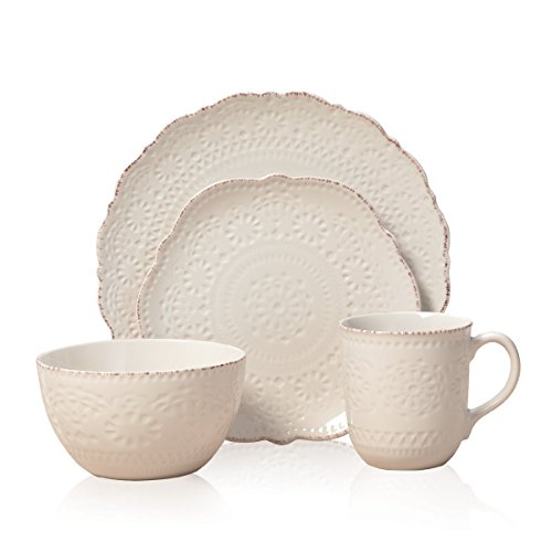 Pfaltzgraff 5143149 Chateau Cream 16-Piece Stoneware Dinnerware Set, Service for 4, Off White (And Set Gold White Dish)