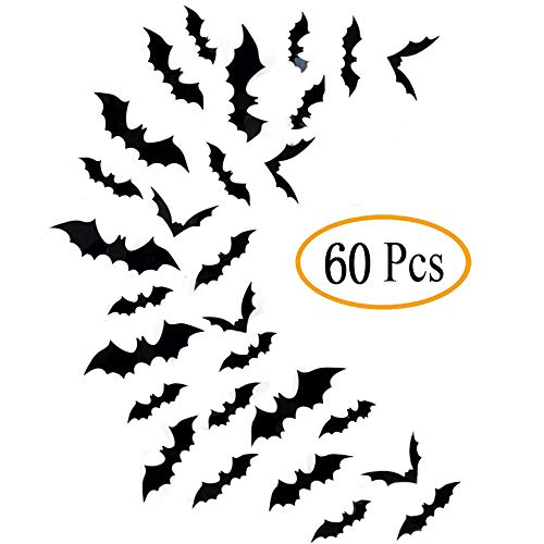 (Halloween Bats Wall Decor, Fntacetik Bats Decorations for Halloween Window Clings Wall Decal Stickers, 4 Sizes, 60)