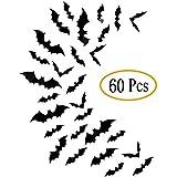 Fntacetik Halloween Bats Wall Decor, 60 Pcs Bats Halloween Decorations Window Clings Wall Decals 3D Bat Cutouts Wall Stickers Halloween Decor Party Supplies, 4 Sizes, Black