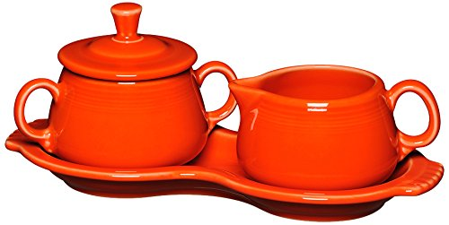 Fiesta Covered Creamer and Sugar Set with Tray, Poppy