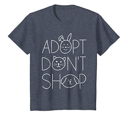 Kids Adopt Don't Shop Animal Rescue T-Shirts For Animal Lovers 12 Heather Blue