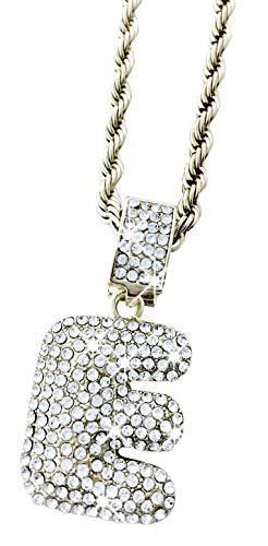 Exo Jewel Iced Out Diamond Bubble Alphabet Letter Pendant Necklace with 24