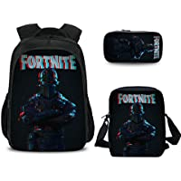 3 Pcs Fortnite Backpack Rucksack Boys Girls School Bag Pencil Case Shoulder Bag 04#