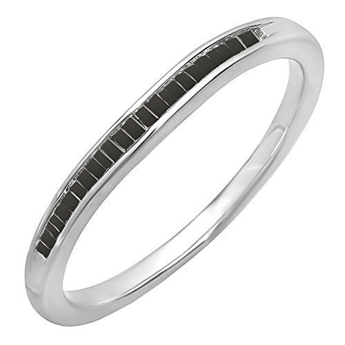 Dazzlingrock Collection 0.15 Carat (ctw) Sterling Silver Baguette Black Diamond Ladies Curved Band Wedding Ring, Size 9