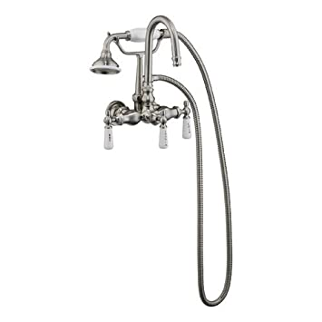 Polished Nickel Clawfoot Tub Gooseneck Diverter Faucet With Hand