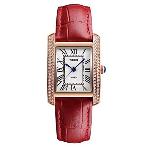 Women's Classic Analog Quartz Square Minimalist Wrist Watch Shinning Diamond Paved Dial Business Casual Designer Scratch Resistant Face Leather Dress Band Watched Waterproof - Red