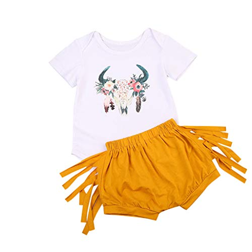 - Baby Girls Boys Comfy Romper Set Deer Printed Tops+Solid Long Tassel Hip-Hop Shorts (Yellow, Recommended Age:12-18 Months)