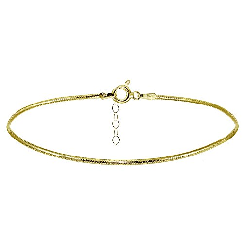 Hoops & Loops Yellow Gold Flashed Sterling Silver Snake Chain Anklet
