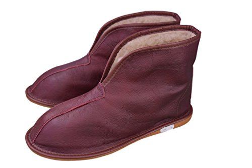 Natleat Slippers Womens Mens Unisex Natural Leather Sheepskin Slipper Boots, Damen Stiefel & Stiefeletten Braun Braun, Schwarz - Schwarz - Größe: 39