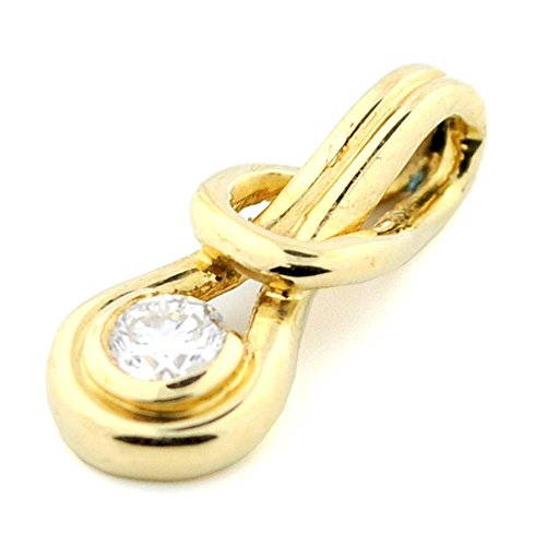 14k Yellow Gold Diamond Slide Pendant 1/4ct Round Diamond 18mm Tall (i2/i3, -
