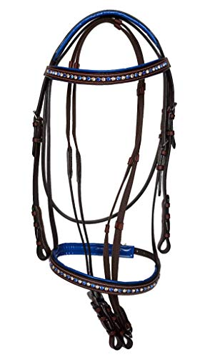 Equitem Leather Padded English Bridle with Blue and White Crystal Browband (Brown)