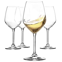 Paksh Novelty Italian-Crafted Glass Restaurant White Wine Glasses Dishwasher Safe, 15-Ounce, Set of 4