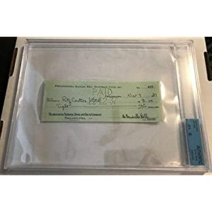 1937 Bert Bell Philadelphia Eagles Ritz Carlton Autographed Signed Check BGS Memorabilia JSA Auto