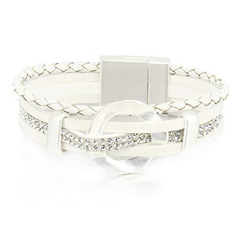 - White Rhinestone Bracelet Leather Wrap Boho Bracelet Stack Layered Cuff Bracelet Braided Magnetic Clasp Bracelet Multi Strand Bracelet for Women Girl