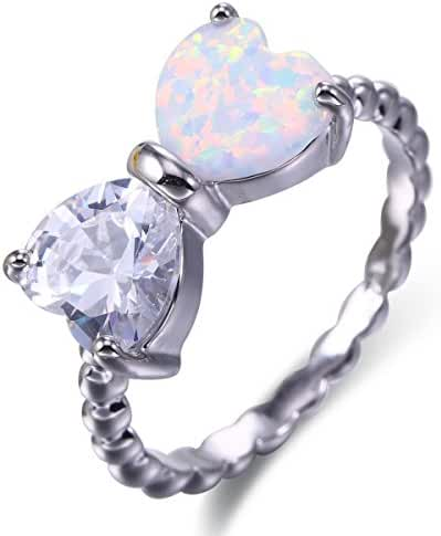 Women Halo Rings Created Opals AAA Cubic Zirconia Rhodium Plated Heart Shape Jewelry Size 6 7 8 9 White