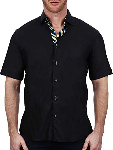 Maceoo Mens Designer Dress Shirt - Stylish & Trendy - Galileo Soft Butter Black - Tailored Fit