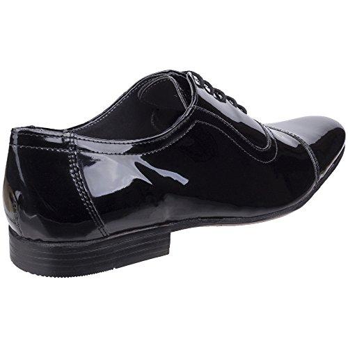 Lambretta Mens Taylor Toecap High Shine Lace Up Oxford Smart Shoes Black Patent Shine